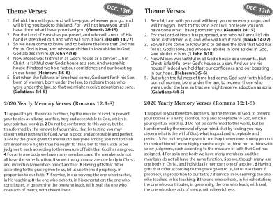 2020 Bible Feast (December 13th)